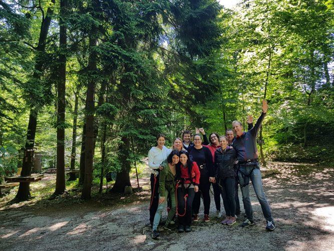 Ekipa Razvojnega centra Srca Slovenije z MIlošem Kimovcem v Pustolovskem parku Geoss.